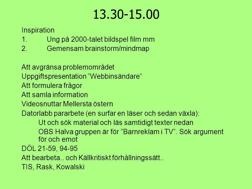 """13.30-15.00 Inspiration 1.Ung på 2000-talet bildspel film mm 2.Gemensam brainstorm/mindmap Att avgränsa problemområdet Uppgiftspresentation """"Webbinsän"""