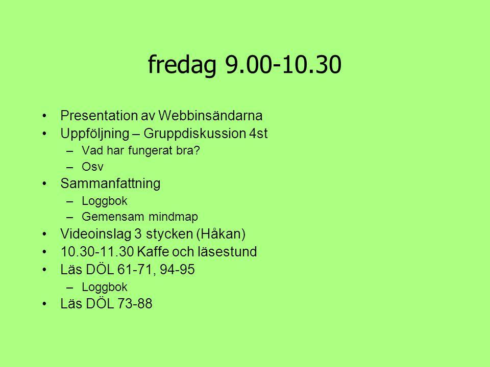 fredag 9.00-10.30 •Presentation av Webbinsändarna •Uppföljning – Gruppdiskussion 4st –Vad har fungerat bra? –Osv •Sammanfattning –Loggbok –Gemensam mi