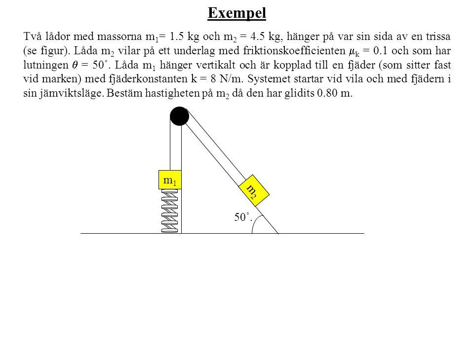 Exempel Två lådor med massorna m 1 = 1.5 kg och m 2 = 4.5 kg, hänger på var sin sida av en trissa (se figur).