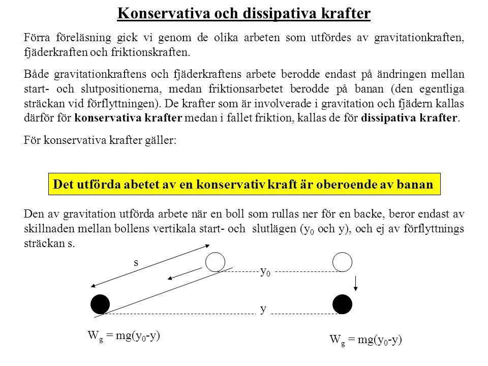 Från den tidigare slutsaten ser vi att om ett objekt under en konservativ kraft förflyttas från läge A till läge B, så bör det utförda arbetet W AB vara lika stort som det utförda W BA från B till A, fast med ändrad tecken, dvs.