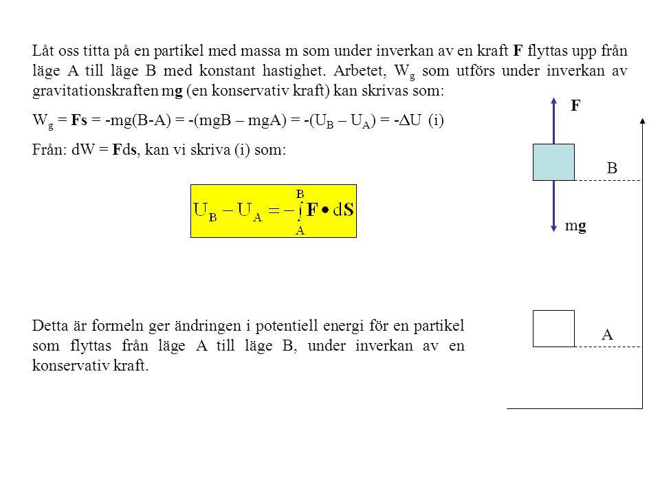 Låt oss titta på en partikel med massa m som under inverkan av en kraft F flyttas upp från läge A till läge B med konstant hastighet.