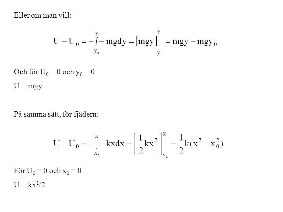 Eller om man vill: Och för U 0 = 0 och y 0 = 0 U = mgy På samma sätt, för fjädern: För U 0 = 0 och x 0 = 0 U = kx 2 /2