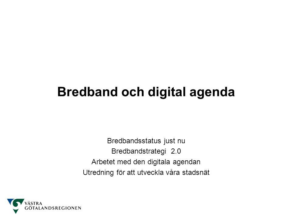 Bredband och digital agenda Bredbandsstatus just nu Bredbandstrategi 2.0 Arbetet med den digitala agendan Utredning för att utveckla våra stadsnät