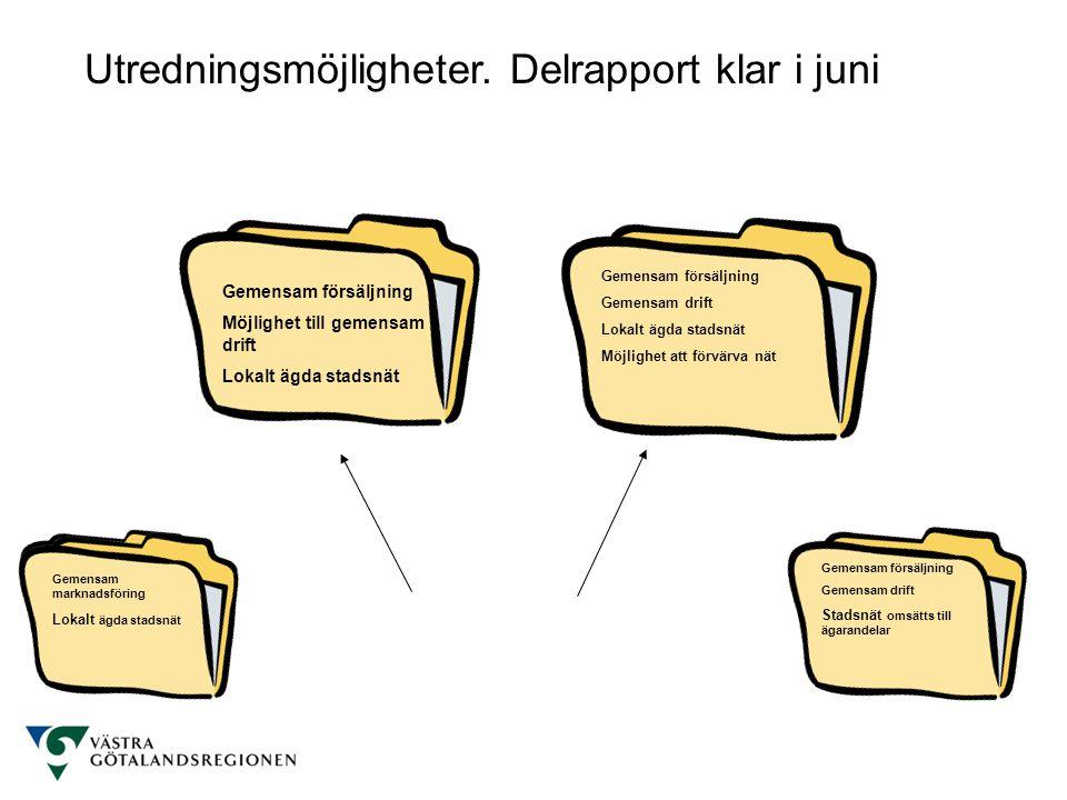 Utredningsmöjligheter. Delrapport klar i juni Gemensam MF Lokalt ägda stadsnät Gemensam försäljning Möjlighet till gemensam drift Lokalt ägda stadsnät