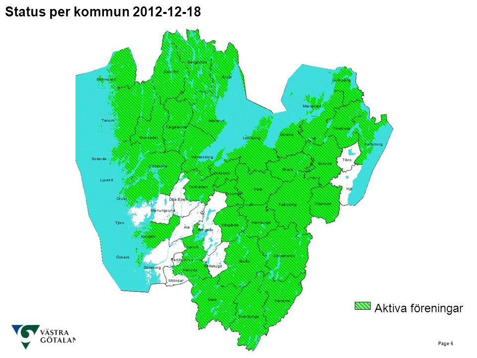 Page 6 Status per kommun 2012-12-18 Aktiva föreningar