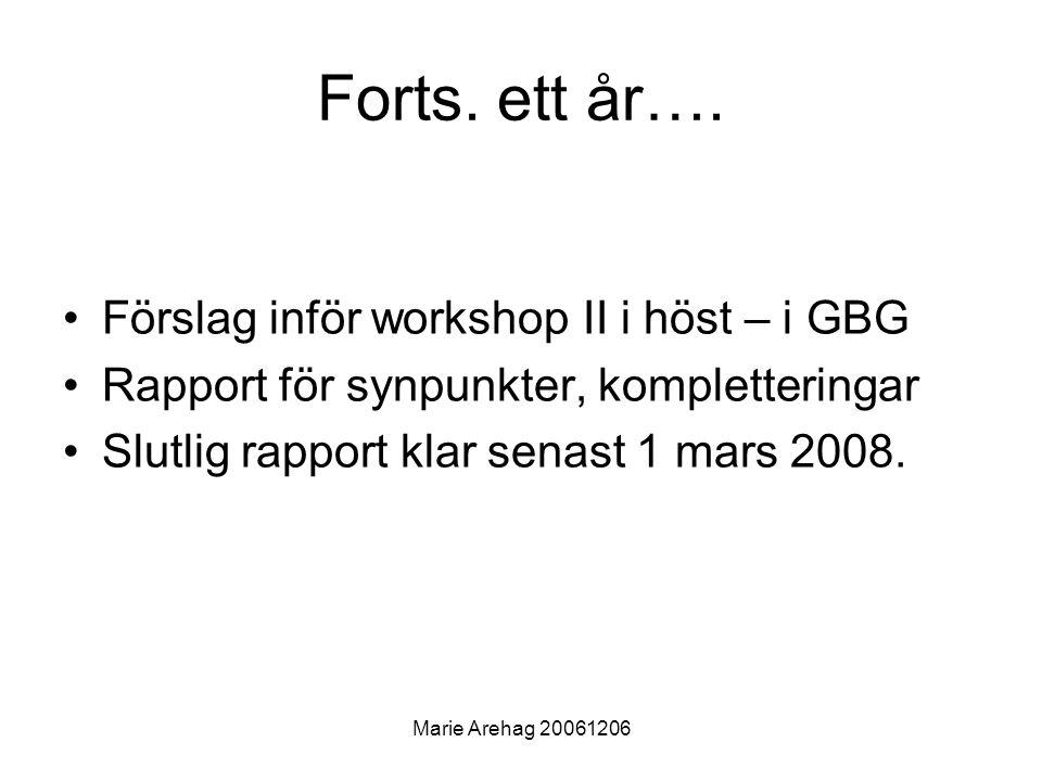 Marie Arehag 20061206 Forts.ett år….
