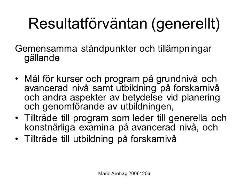 Marie Arehag 20061206 Huvudfokus på formulering av nivågrupperade lärandemål •Kurser och program ska anpassas till den nya strukturen •Syfte: Främja studenters rörlighet •Interagera med övriga NSHU-nätverk •Verka för spridning av resultaten