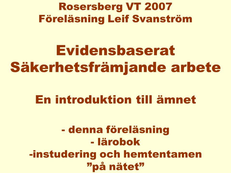 Evidensbaserad skadeprevention -Om effekter och effektivitet i skadeförebyggande och säkerhetsfrämjande arbete Bo J A Haglund Leif O Svanström Karolinska Institutet Folkhälsoinstitutet 1999