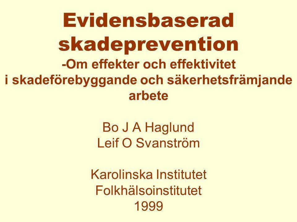 Matrix över bevis-baserat säkerhetsfrämjande och skadeförebyggande arbete Interventionsnivåer: Individ/grupp, organisation, lokalsamhälle och nation.