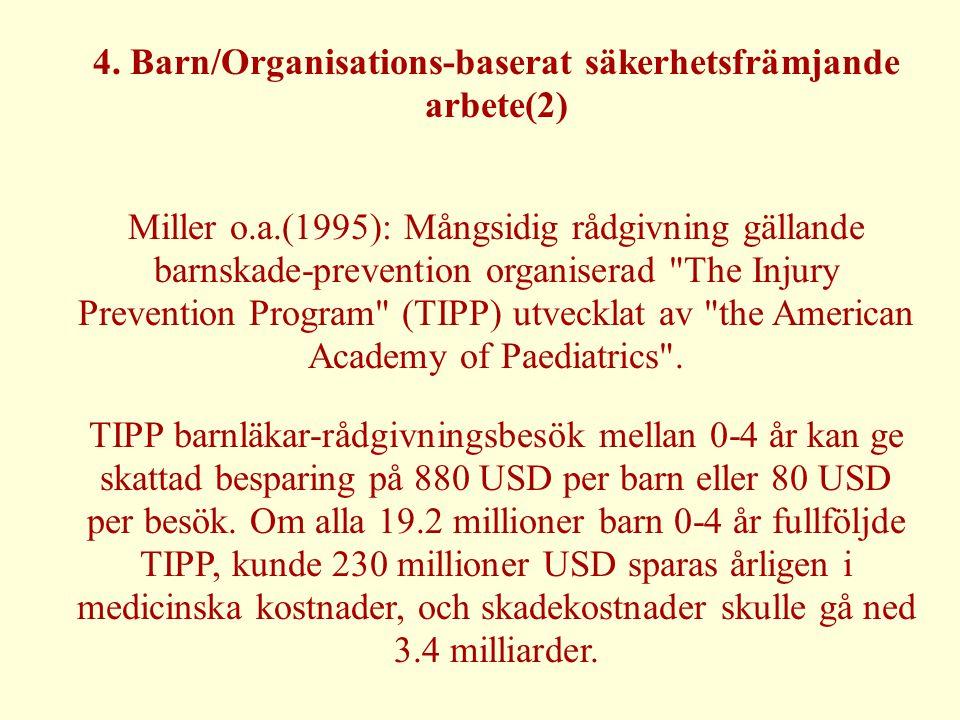 4. Barn/Organisations-baserat säkerhetsfrämjande arbete(2) Miller o.a.(1995): Mångsidig rådgivning gällande barnskade-prevention organiserad