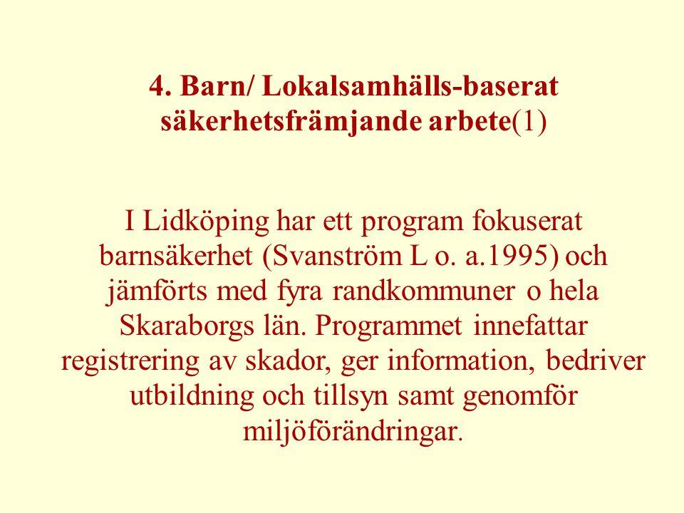 4. Barn/ Lokalsamhälls-baserat säkerhetsfrämjande arbete(1) I Lidköping har ett program fokuserat barnsäkerhet (Svanström L o. a.1995) och jämförts me