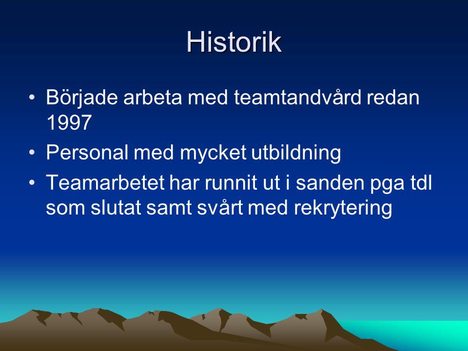 Historik •Började arbeta med teamtandvård redan 1997 •Personal med mycket utbildning •Teamarbetet har runnit ut i sanden pga tdl som slutat samt svårt
