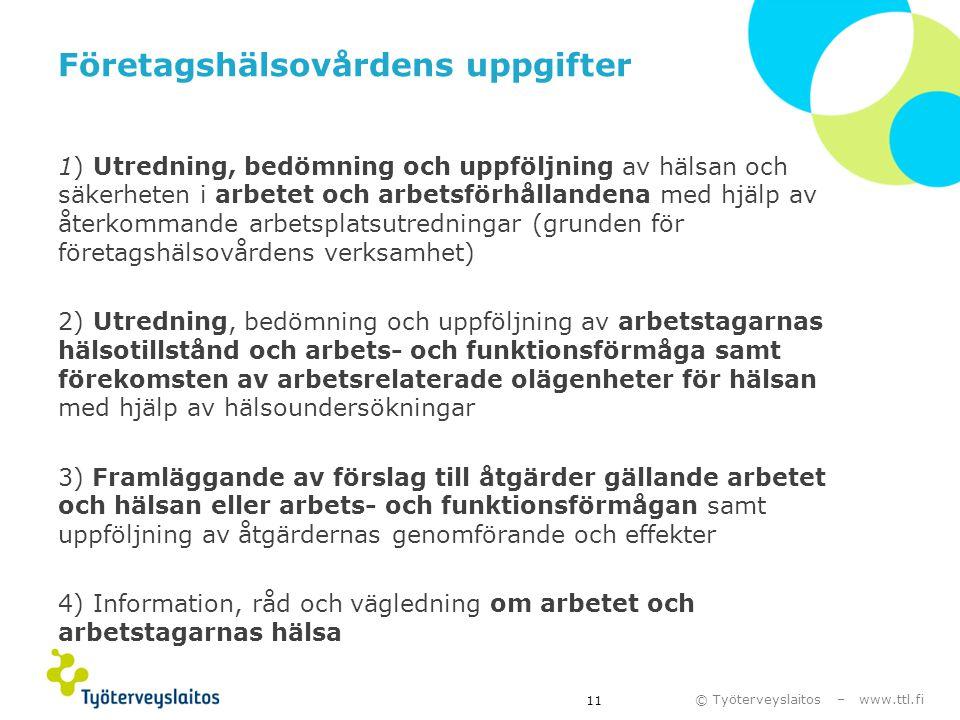 © Työterveyslaitos – www.ttl.fi Företagshälsovårdens uppgifter 1) Utredning, bedömning och uppföljning av hälsan och säkerheten i arbetet och arbetsfö