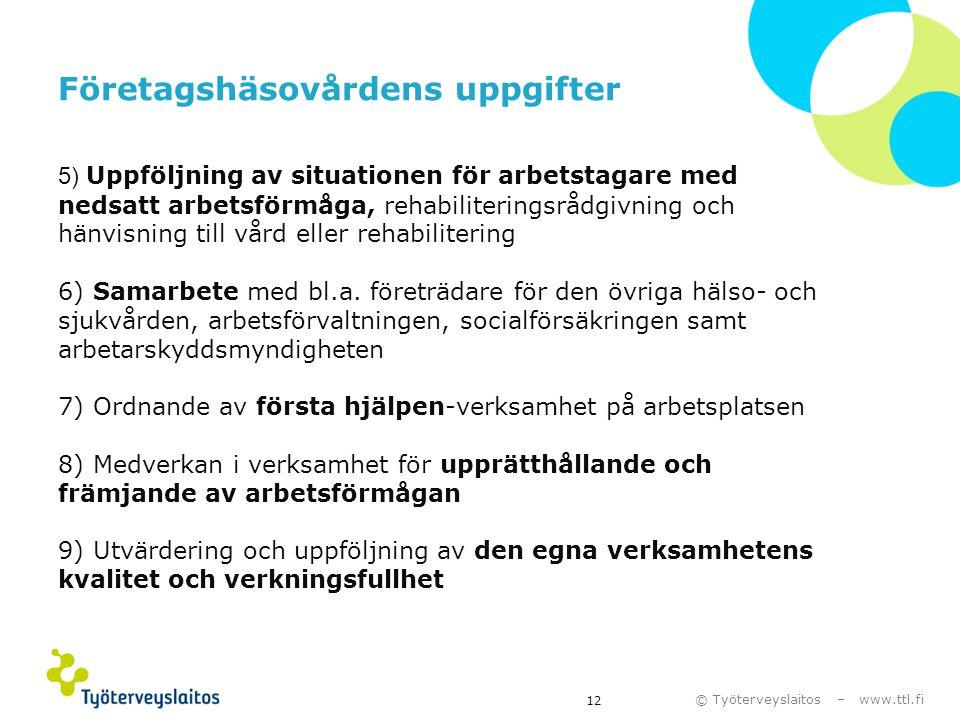 © Työterveyslaitos – www.ttl.fi 12 5) Uppföljning av situationen för arbetstagare med nedsatt arbetsförmåga, rehabiliteringsrådgivning och hänvisning