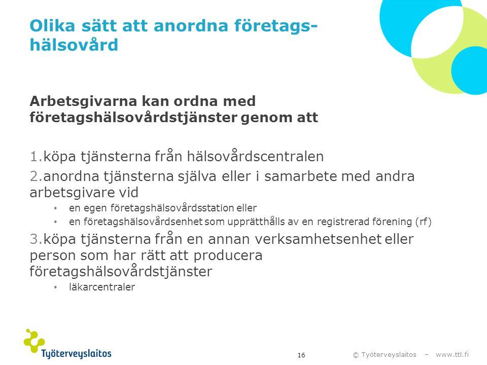 © Työterveyslaitos – www.ttl.fi Olika sätt att anordna företags- hälsovård Arbetsgivarna kan ordna med företagshälsovårdstjänster genom att 1.köpa tjä