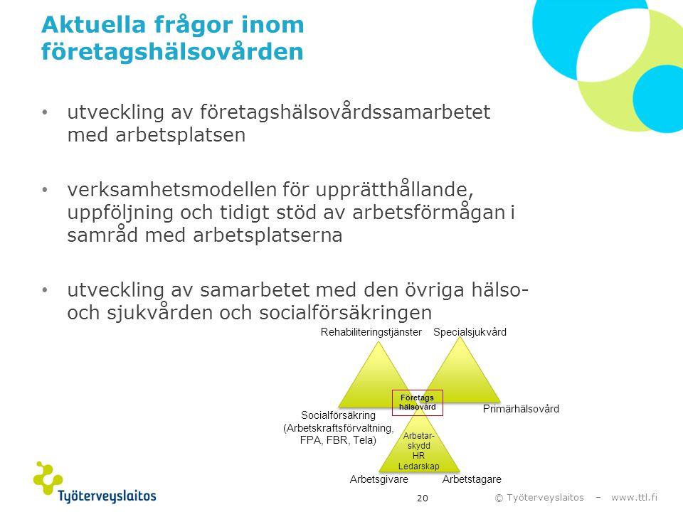 © Työterveyslaitos – www.ttl.fi Aktuella frågor inom företagshälsovården • utveckling av företagshälsovårdssamarbetet med arbetsplatsen • verksamhetsm