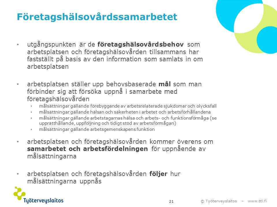 © Työterveyslaitos – www.ttl.fi Företagshälsovårdssamarbetet • utgångspunkten är de företagshälsovårdsbehov som arbetsplatsen och företagshälsovården
