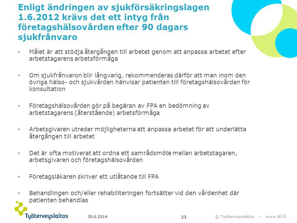 © Työterveyslaitos – www.ttl.fi 30.6.2014 23 Enligt ändringen av sjukförsäkringslagen 1.6.2012 krävs det ett intyg från företagshälsovården efter 90 d