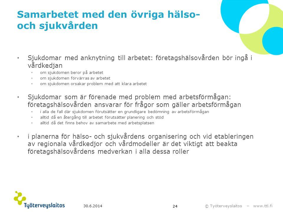 © Työterveyslaitos – www.ttl.fi 30.6.2014 24 Samarbetet med den övriga hälso- och sjukvården • Sjukdomar med anknytning till arbetet: företagshälsovår