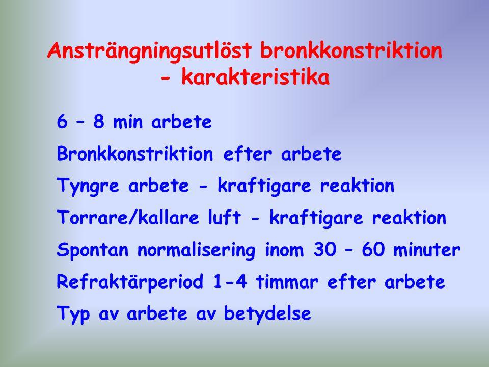 Ansträngningsutlöst bronkkonstriktion - karakteristika 6 – 8 min arbete Bronkkonstriktion efter arbete Tyngre arbete - kraftigare reaktion Torrare/kal