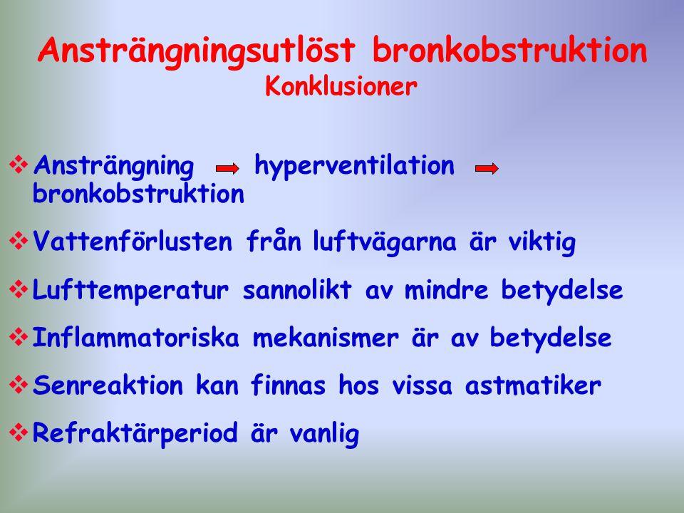 Ansträngningsutlöst bronkobstruktion Konklusioner  Ansträngning hyperventilation bronkobstruktion  Vattenförlusten från luftvägarna är viktig  Luft