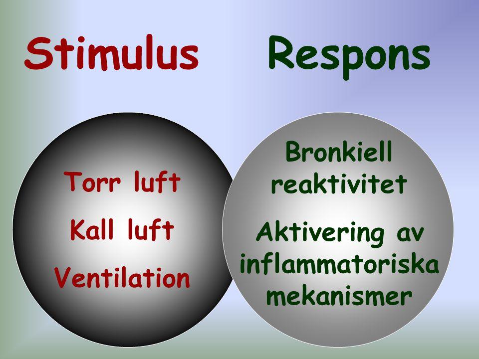 StimulusRespons Torr luft Kall luft Ventilation Bronkiell reaktivitet Aktivering av inflammatoriska mekanismer