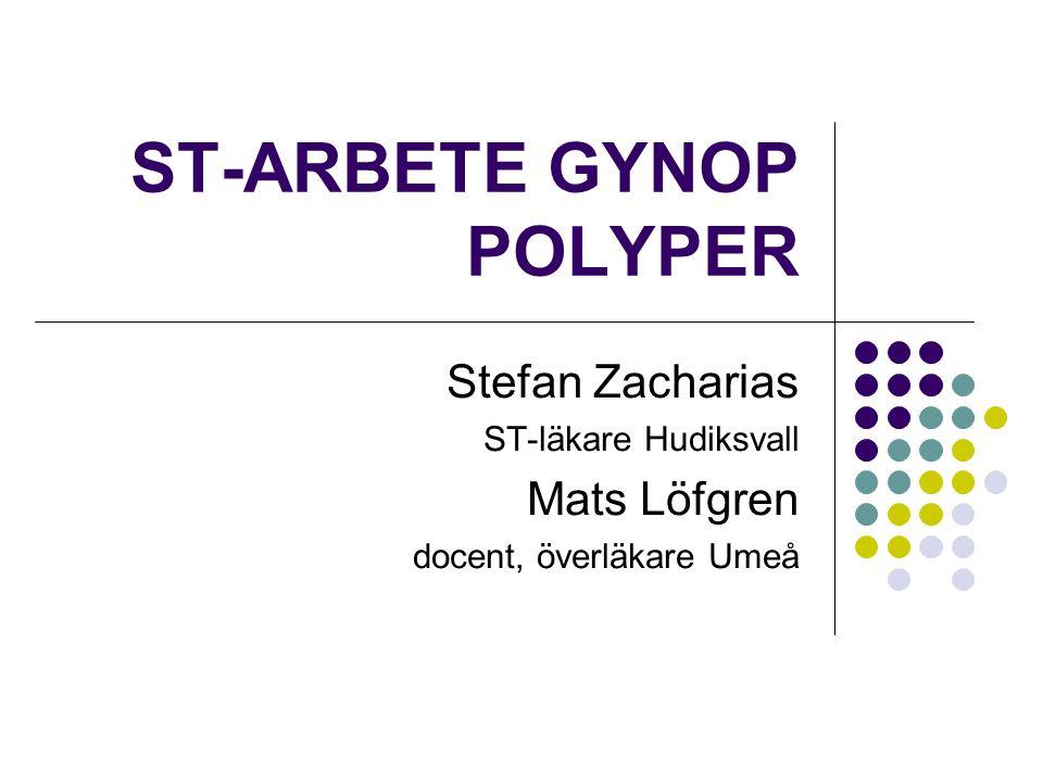 ST-ARBETE GYNOP POLYPER Stefan Zacharias ST-läkare Hudiksvall Mats Löfgren docent, överläkare Umeå