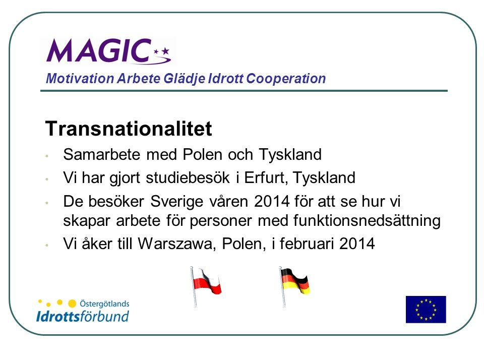 Motivation Arbete Glädje Idrott Cooperation Transnationalitet • Samarbete med Polen och Tyskland • Vi har gjort studiebesök i Erfurt, Tyskland • De be