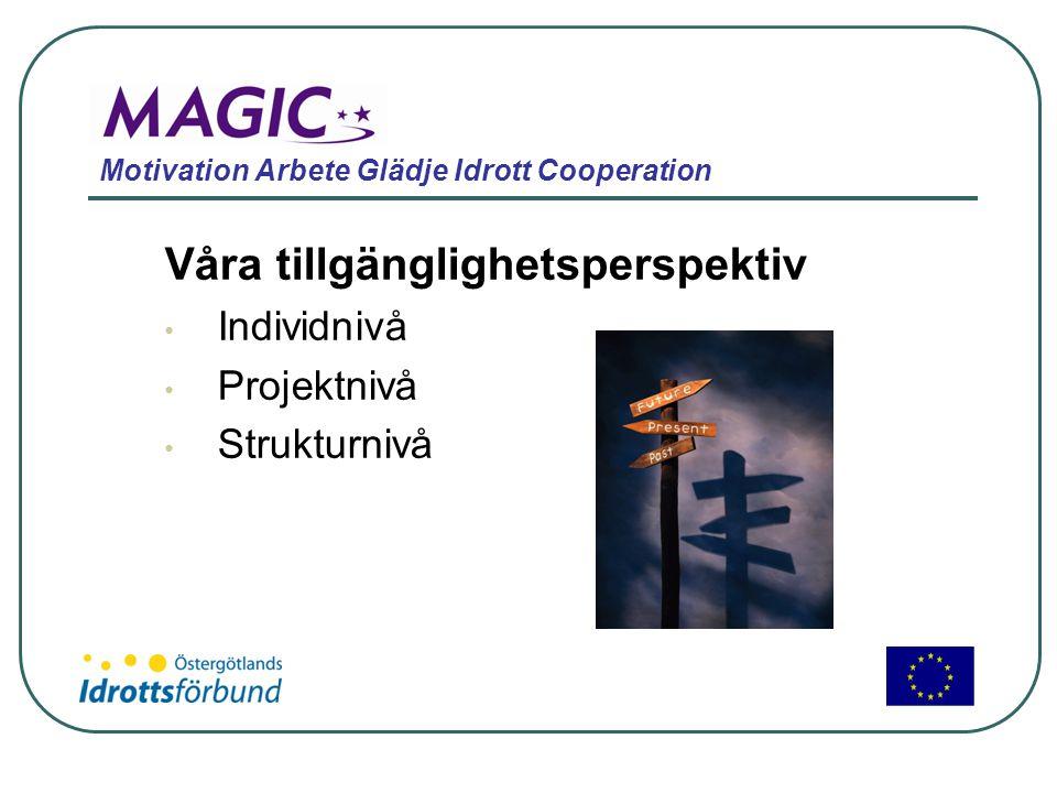 Motivation Arbete Glädje Idrott Cooperation Våra tillgänglighetsperspektiv • Individnivå • Projektnivå • Strukturnivå