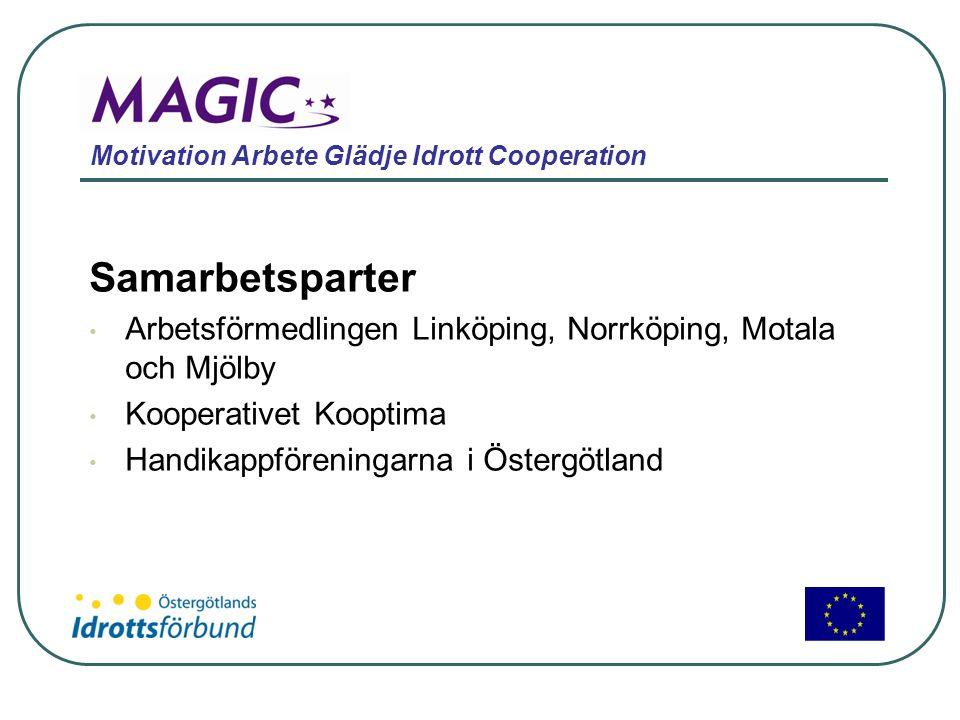 Motivation Arbete Glädje Idrott Cooperation Samarbetsparter • Arbetsförmedlingen Linköping, Norrköping, Motala och Mjölby • Kooperativet Kooptima • Ha