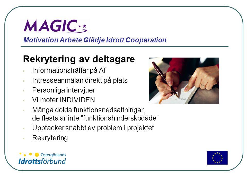 Motivation Arbete Glädje Idrott Cooperation Rekrytering av deltagare • Informationsträffar på Af • Intresseanmälan direkt på plats • Personliga interv