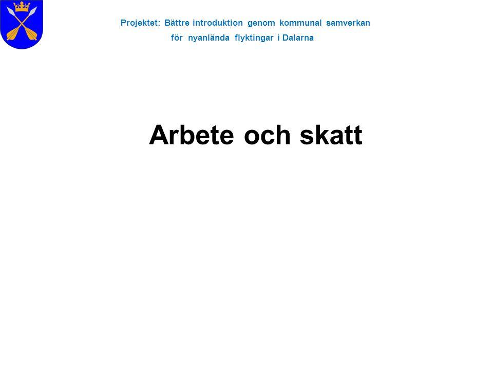 Projektet: Bättre introduktion genom kommunal samverkan för nyanlända flyktingar i Dalarna •Hur många delägare skall vara med i företaget.
