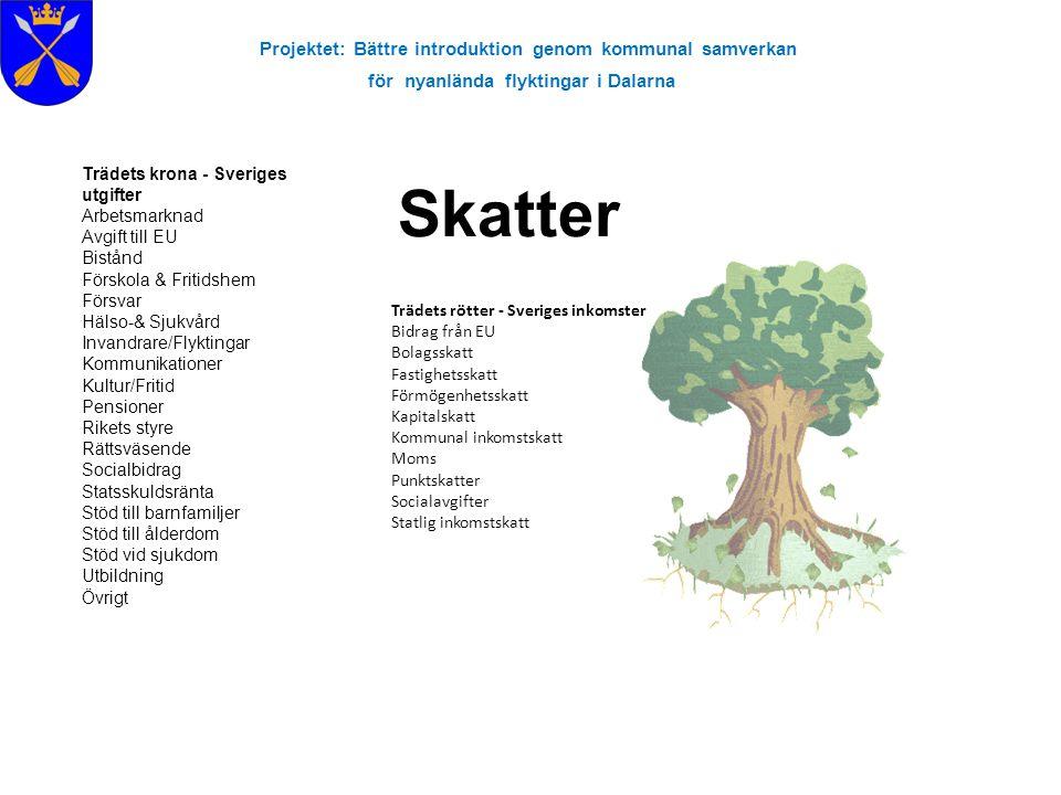 Projektet: Bättre introduktion genom kommunal samverkan för nyanlända flyktingar i Dalarna Skatter Trädets rötter - Sveriges inkomster Bidrag från EU