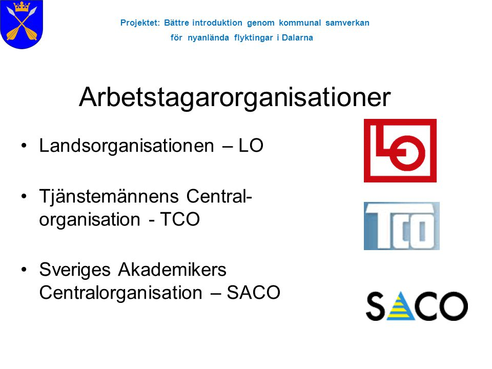 Projektet: Bättre introduktion genom kommunal samverkan för nyanlända flyktingar i Dalarna •Landsorganisationen – LO •Tjänstemännens Central- organisa