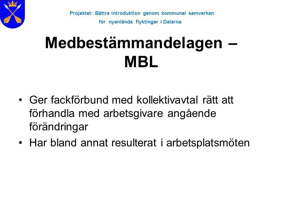 Projektet: Bättre introduktion genom kommunal samverkan för nyanlända flyktingar i Dalarna Medbestämmandelagen – MBL •Ger fackförbund med kollektivavt