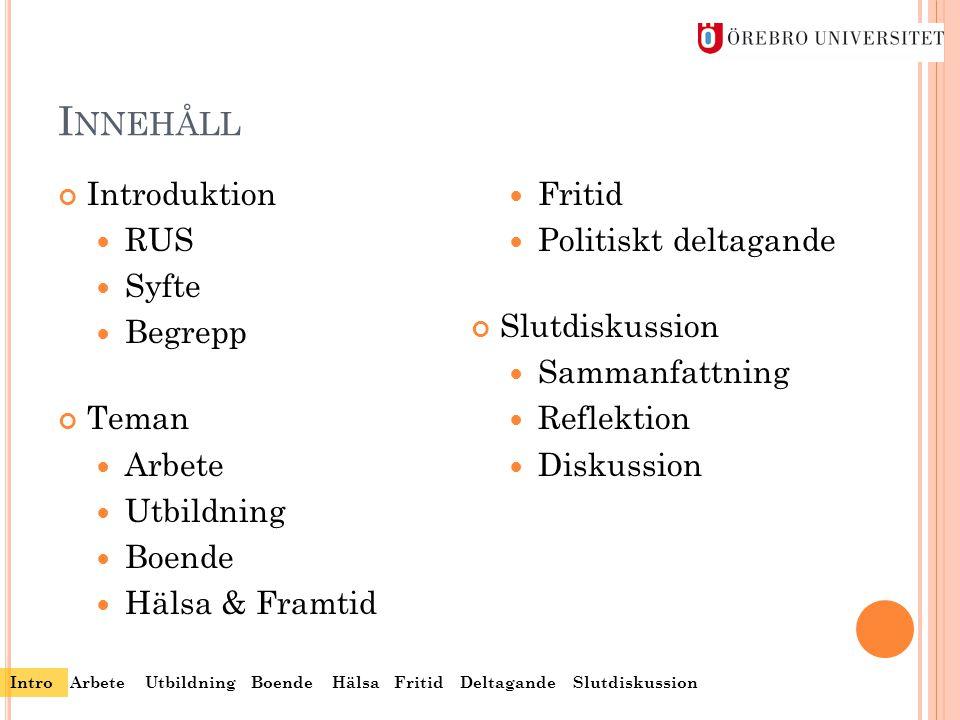 I NNEHÅLL Introduktion  RUS  Syfte  Begrepp Teman  Arbete  Utbildning  Boende  Hälsa & Framtid  Fritid  Politiskt deltagande Slutdiskussion 