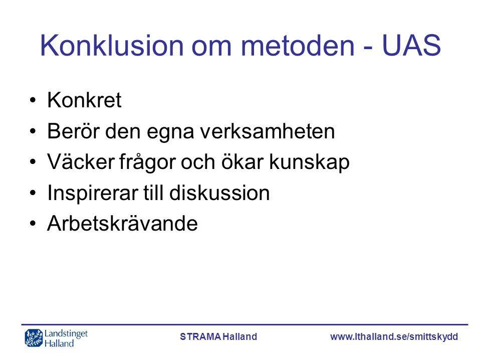 STRAMA Halland www.lthalland.se/smittskydd Konklusion om metoden - UAS •Konkret •Berör den egna verksamheten •Väcker frågor och ökar kunskap •Inspirer