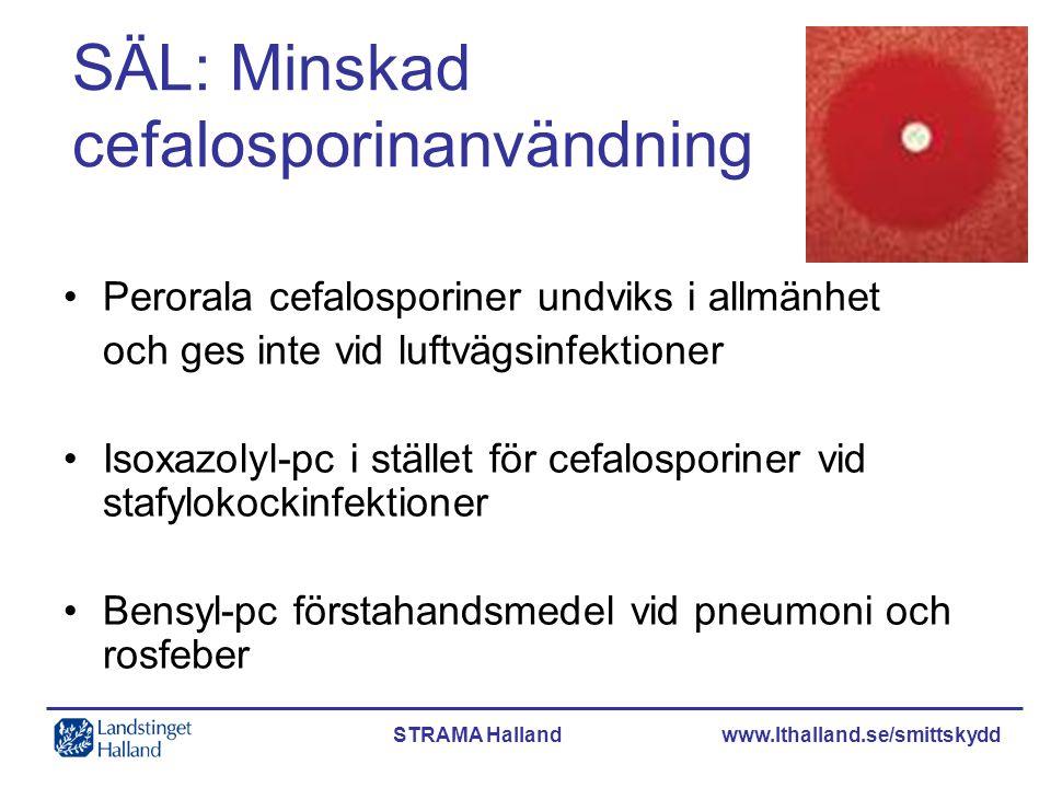 STRAMA Halland www.lthalland.se/smittskydd SÄL: Minskad cefalosporinanvändning •Perorala cefalosporiner undviks i allmänhet och ges inte vid luftvägsi