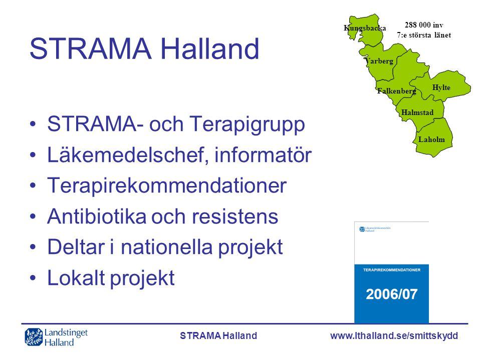 STRAMA Halland www.lthalland.se/smittskydd STRAMA Halland •STRAMA- och Terapigrupp •Läkemedelschef, informatör •Terapirekommendationer •Antibiotika oc