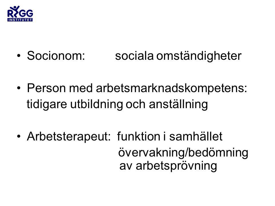 •Socionom: sociala omständigheter •Person med arbetsmarknadskompetens: tidigare utbildning och anställning •Arbetsterapeut: funktion i samhället övervakning/bedömning av arbetsprövning
