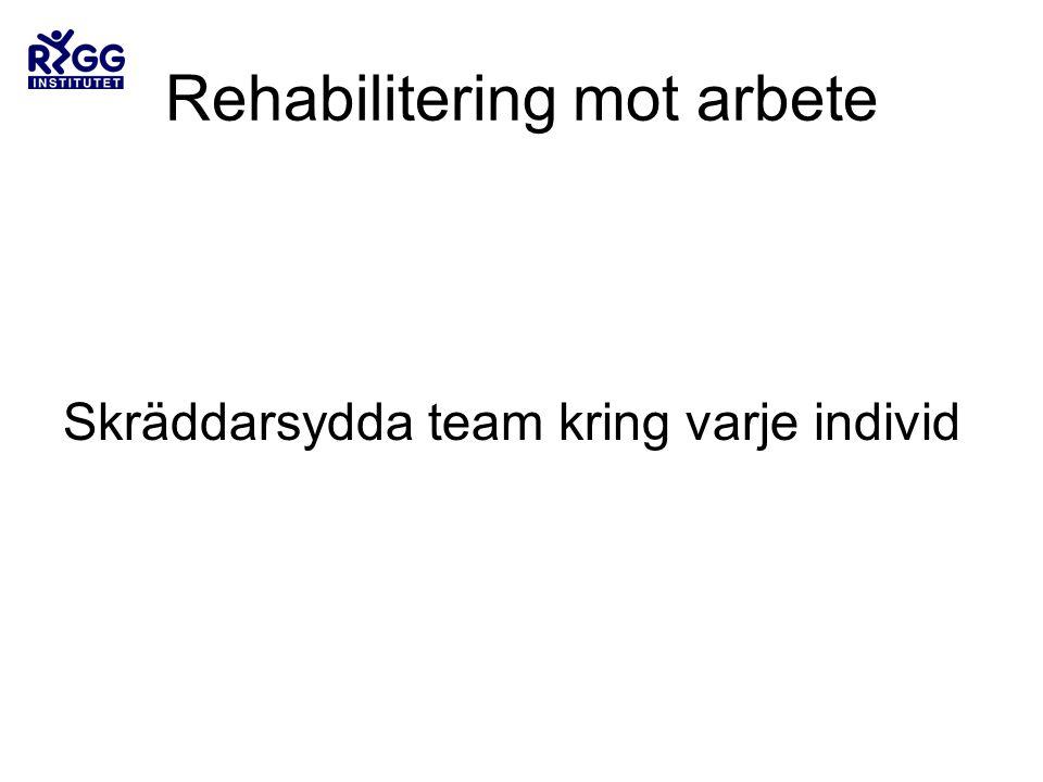 Rehabilitering mot arbete Skräddarsydda team kring varje individ