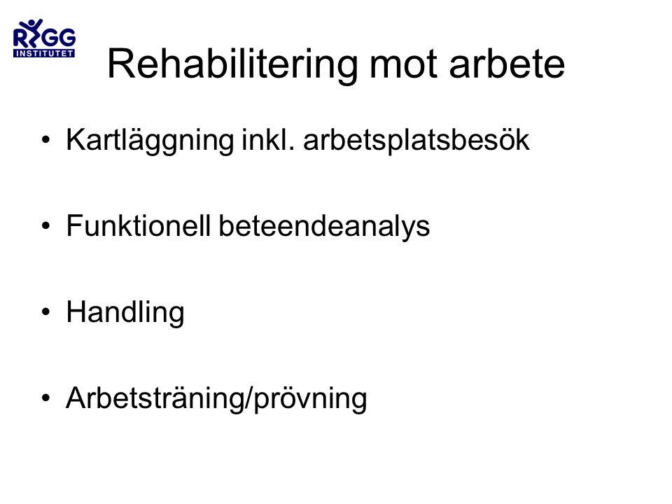 Rehabilitering mot arbete •Kartläggning inkl.