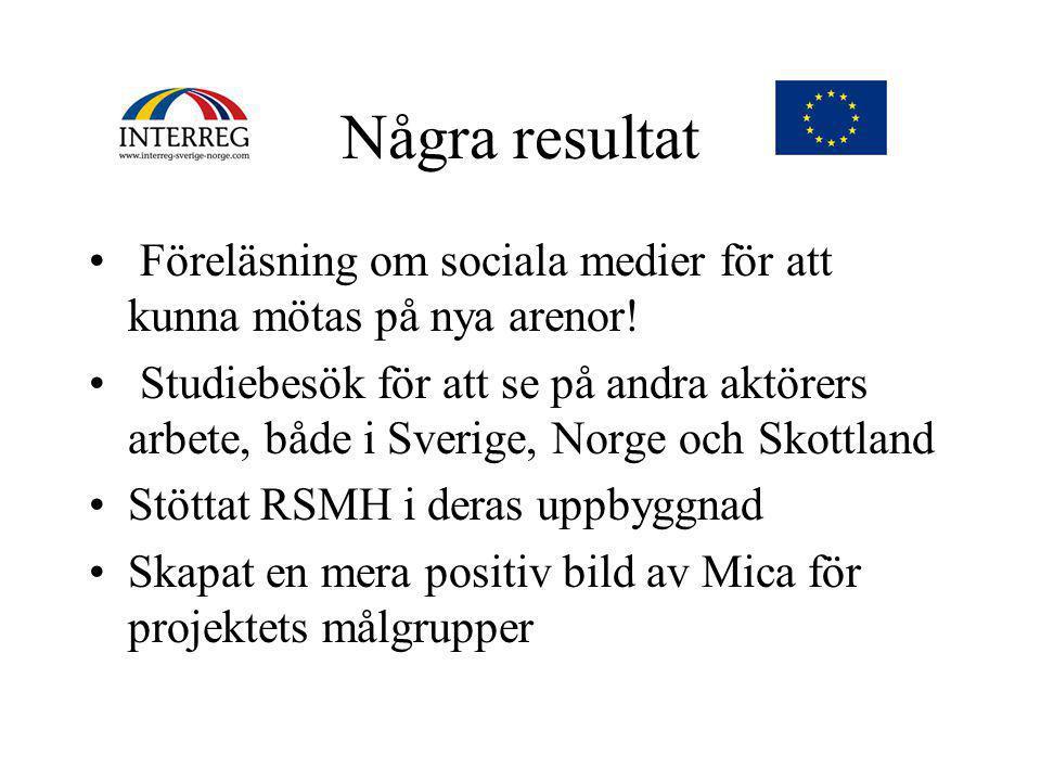 Några resultat • Föreläsning om sociala medier för att kunna mötas på nya arenor.