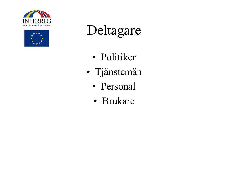 Deltagare •Politiker •Tjänstemän •Personal •Brukare