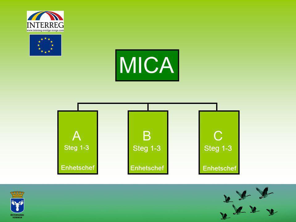 MICA A Steg 1-3 B Steg 1-3 C Steg 1-3 Enhetschef