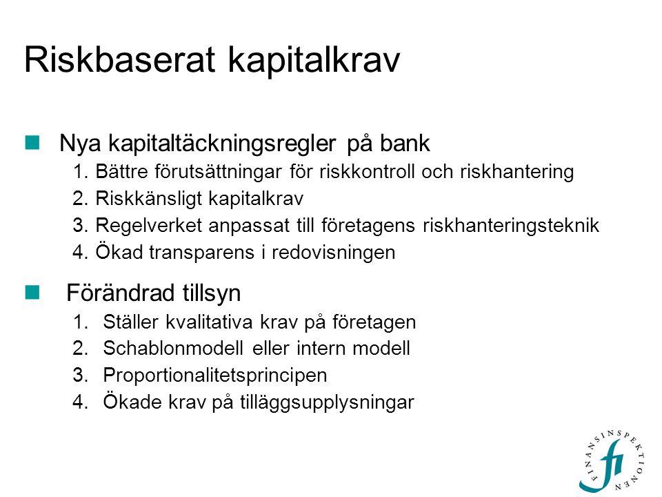 Riskbaserat kapitalkrav  Nya kapitaltäckningsregler på bank 1. Bättre förutsättningar för riskkontroll och riskhantering 2. Riskkänsligt kapitalkrav