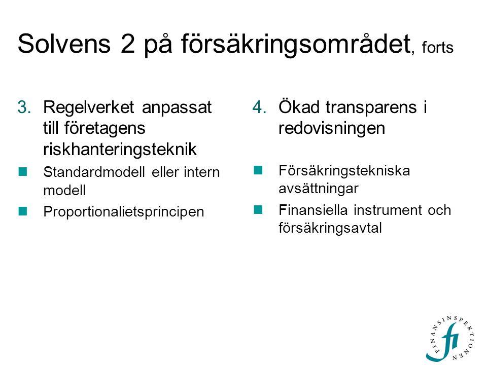 Solvens 2 på försäkringsområdet, forts 3.Regelverket anpassat till företagens riskhanteringsteknik  Standardmodell eller intern modell  Proportionalietsprincipen 4.Ökad transparens i redovisningen  Försäkringstekniska avsättningar  Finansiella instrument och försäkringsavtal