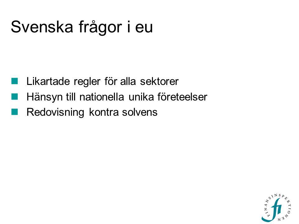 Svenska frågor i eu  Likartade regler för alla sektorer  Hänsyn till nationella unika företeelser  Redovisning kontra solvens