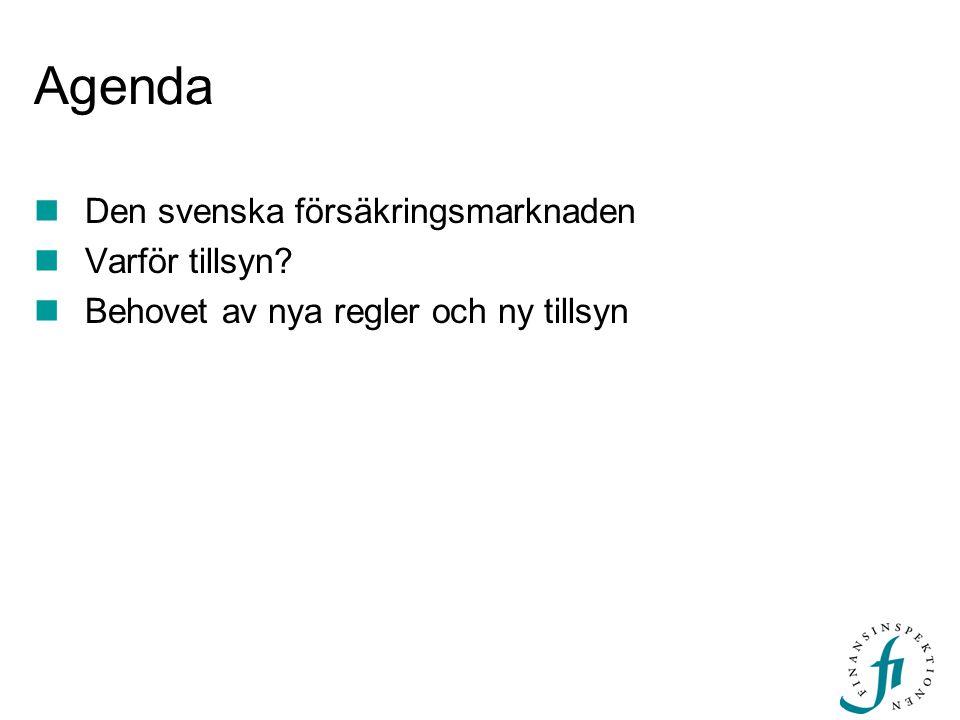 Agenda  Den svenska försäkringsmarknaden  Varför tillsyn?  Behovet av nya regler och ny tillsyn
