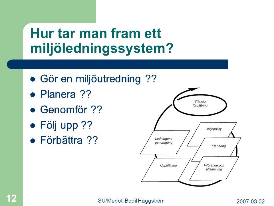 2007-03-02 SU/Medot, Bodil Häggström 12 Hur tar man fram ett miljöledningssystem?  Gör en miljöutredning  Planera  Genomför  Följ upp  Förbättra